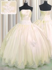 Sleeveless Taffeta Floor Length Lace Up Vestidos de Quinceanera in Champagne with Beading and Appliques