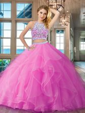 Fashionable Scoop Beading and Ruffles Quinceanera Gown Lilac Backless Sleeveless Floor Length