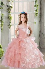 Discount Baby Pink Ball Gowns Square Sleeveless Organza Floor Length Lace Up Lace and Ruffled Layers Little Girl Pageant Gowns