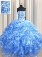 Visible Boning Baby Blue Lace Up Strapless Beading and Ruffles Quince Ball Gowns Organza Sleeveless