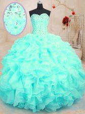 Aqua Blue Sleeveless Beading and Ruffles Floor Length Quinceanera Gowns