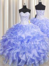 Gorgeous Visible Boning Zipper Up Lavender Zipper Sweetheart Beading and Ruffles Ball Gown Prom Dress Organza Sleeveless
