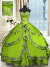 Artistic Floor Length Lace Up Quince Ball Gowns with Beading and Embroidery and Ruffled Layers