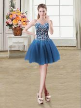 Beading and Sequins Teal Lace Up Sleeveless Mini Length