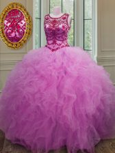 Scoop Floor Length Lace Up Sweet 16 Dresses Lilac for Military Ball and Sweet 16 and Quinceanera with Beading and Ruffles