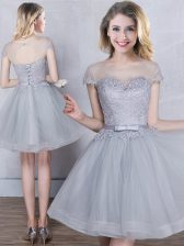 Scoop Short Sleeves Mini Length Appliques and Belt Lace Up Court Dresses for Sweet 16 with Grey