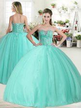 Custom Made Sleeveless Lace Up Floor Length Beading Sweet 16 Dress