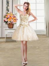 Ball Gowns Prom Dress Champagne Sweetheart Tulle Sleeveless Mini Length Lace Up
