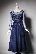 Fantastic Scoop Navy Blue Zipper Homecoming Dress Beading and Hand Made Flower Long Sleeves Tea Length