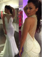 Perfect Mermaid Sleeveless With Train Beading Criss Cross Homecoming Dress with White Sweep Train