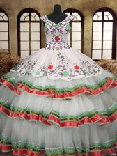 Multi-color Sleeveless Embroidery and Ruffled Layers Floor Length Quinceanera Dress