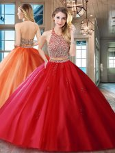 Halter Top Sleeveless Brush Train Backless Quinceanera Dresses Red Tulle