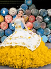 Fantastic Yellow And White Sweetheart Neckline Appliques and Embroidery and Ruffles 15th Birthday Dress Sleeveless Lace Up