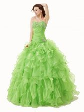 Ideal Floor Length Sweet 16 Dress Sweetheart Sleeveless Lace Up