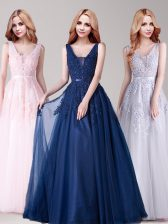 Nice A-line Baby Pink V-neck Tulle Sleeveless Floor Length Backless