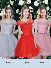 Beautiful Scoop Tulle Short Sleeves Mini Length Quinceanera Court Dresses and Appliques and Belt