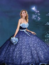 Royal Blue Lace Lace Up 15th Birthday Dress Sleeveless Appliques and Bowknot