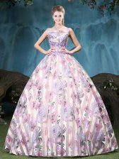 Tulle Straps Sleeveless Lace Up Appliques and Pattern Ball Gown Prom Dress in Multi-color