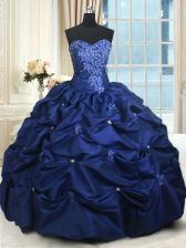 Fine Navy Blue Ball Gowns Appliques and Pick Ups Sweet 16 Dresses Lace Up Taffeta Sleeveless Floor Length