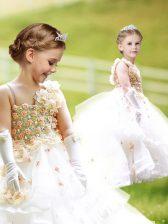 White Asymmetric Zipper Ruffled Layers and Hand Made Flower Toddler Flower Girl Dress Brush Train Sleeveless