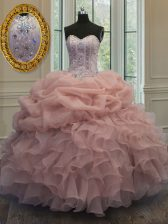 Baby Pink Ball Gowns Organza Sweetheart Sleeveless Beading and Pick Ups Floor Length Lace Up Ball Gown Prom Dress