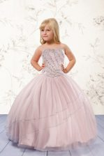 Graceful Baby Pink Sleeveless Floor Length Beading Lace Up Little Girl Pageant Gowns
