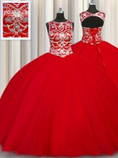 Scoop Red Sleeveless Beading Floor Length Ball Gown Prom Dress
