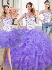 Lavender Straps Lace Up Beading and Lace and Ruffles Vestidos de Quinceanera Sleeveless