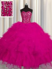 Visible Boning Sleeveless Tulle Floor Length Lace Up Sweet 16 Dress in Fuchsia with Beading and Ruffles and Sequins