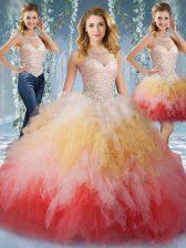Beautiful Halter Top Sleeveless Beading and Ruffles Lace Up Sweet 16 Dress