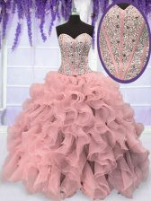 Latest Sweetheart Sleeveless Quinceanera Gowns Floor Length Beading and Ruffles Pink Organza