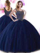 Attractive Scoop Navy Blue Sleeveless Beading Floor Length 15 Quinceanera Dress