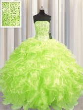 Visible Boning Floor Length Lace Up 15 Quinceanera Dress Yellow Green for Military Ball and Sweet 16 and Quinceanera with Beading and Ruffles
