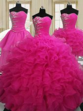 Four Piece Beading Quince Ball Gowns Hot Pink Zipper Sleeveless Floor Length