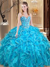 Teal Sleeveless Organza Lace Up Quinceanera Gown for Military Ball and Sweet 16 and Quinceanera