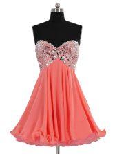 Superior Sweetheart Sleeveless Prom Dresses Mini Length Beading Watermelon Red Chiffon
