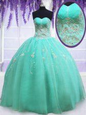 Unique Floor Length Apple Green Quinceanera Dress Sweetheart Sleeveless Zipper