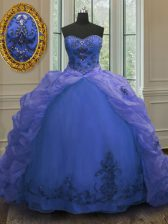 Top Selling Beading and Appliques and Pick Ups Quince Ball Gowns Blue Lace Up Sleeveless With Train Court Train