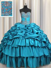 Flare Taffeta Sleeveless Ball Gown Prom Dress Brush Train and Beading and Embroidery and Ruffled Layers and Pick Ups