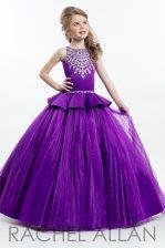 Pleated Floor Length Purple Little Girls Pageant Dress Wholesale Bateau Sleeveless Zipper