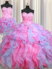 Romantic Three Piece Floor Length Multi-color Sweet 16 Quinceanera Dress Organza Sleeveless Beading and Ruffles