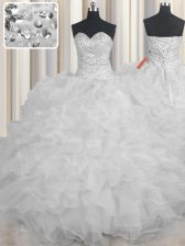 Vintage White Organza Lace Up Quinceanera Dresses Sleeveless Floor Length Beading and Ruffles