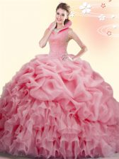 Great Watermelon Red Backless High-neck Beading and Ruffles and Pick Ups Quinceanera Gowns Organza Sleeveless Brush Train