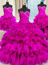 Four Piece Sleeveless Floor Length Beading and Ruffles and Ruching Lace Up Quinceanera Dress with Fuchsia