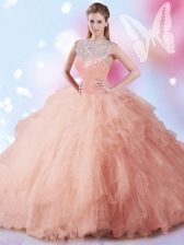 Fashion Sleeveless Beading and Ruffles and Sequins Zipper Quinceanera Dresses