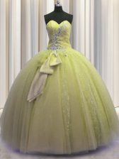 Sequins Bowknot Sweetheart Sleeveless Lace Up Quinceanera Gowns Light Yellow Tulle