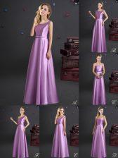 Lilac Square Neckline Bowknot Vestidos de Damas Sleeveless Zipper