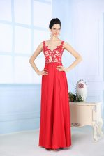 Floor Length Zipper Prom Party Dress Coral Red for Prom and Party with Lace