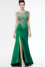 Dark Green Square Neckline Beading and Appliques Homecoming Dress Sleeveless Zipper