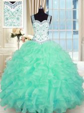 Superior Turquoise Lace Up Quince Ball Gowns Beading and Appliques and Ruffles Sleeveless Floor Length